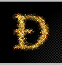 Gold glittering letter d on black background vector