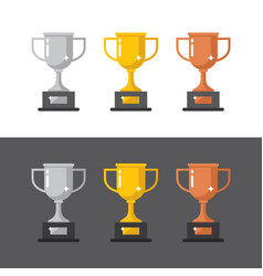gold silver and bronze winner cups vector image vector image