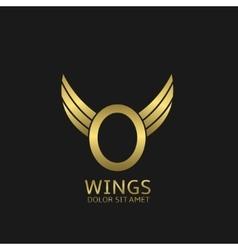 Golden O letter logo vector image