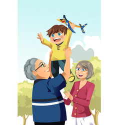 grandparents and grandson playing vector image