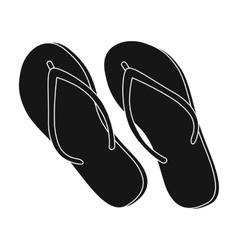 Green flip-flops icon in black style isolated on vector