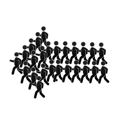 Group of people forming an arrow vector