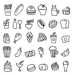 Hand doodle drawn of food icons set vector