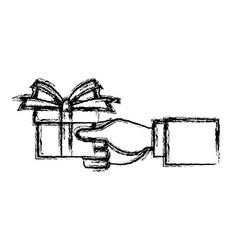 Hand holding gift box wrap ribbon decoration vector