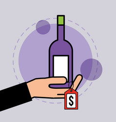 hand holding wine bottle tag price vector image