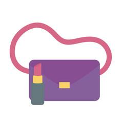 handbag and lipstick icon on white background vector image