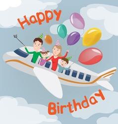 Happy birthday card family in plane family vector