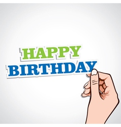 happy birthday word in hand vector image