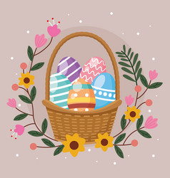 happy easter card with eggs painted in basket vector image