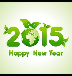 Happy New Year 2015 background with save the world vector image