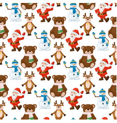 happy santa claus snowman bear merry christmas vector image