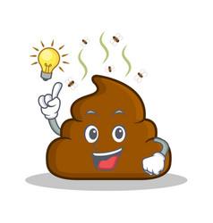 have an idea poop emoticon character cartoon vector image