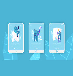 healthy teeth clean toothbrush mobile app page vector image