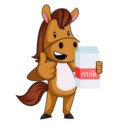 horse with milk on white background vector image