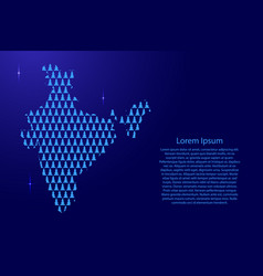 india map abstract schematic from blue tree happy vector image
