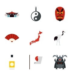 Japan icons set flat style vector