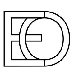 Logo sign eo oe icon sign interlaced letters o e vector