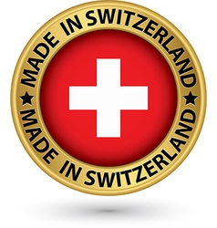 made in switzerland gold label vector image