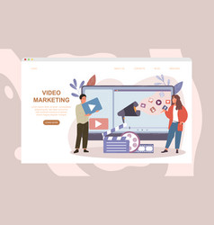 male and female characters working on video vector image