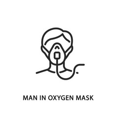Man in oxygen mask flat line icon vector
