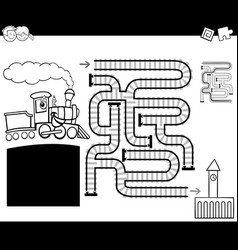 Maze with locomotive coloring page vector