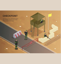 Military checkpoint outdoor background vector