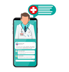 Mobile phone with internet pharmacy app vector