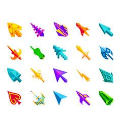 mouse cursor simple flat color icons set vector image