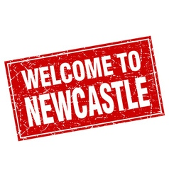 Newcastle red square grunge welcome to stamp vector