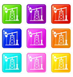 oil derrick icons 9 set vector image