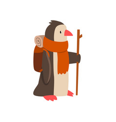 Penguin travelling with backpack and staff cute vector