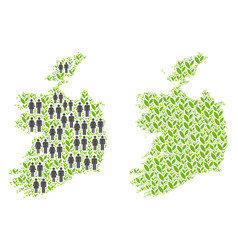 People and floral ireland republic map vector