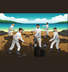 People cleaning after an oil spill vector
