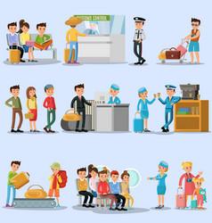 People in airport set vector
