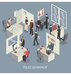 Police Department Isometric Composition vector image