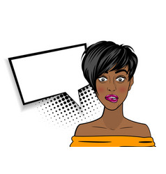 pop art shocked sexy african american black woman vector image