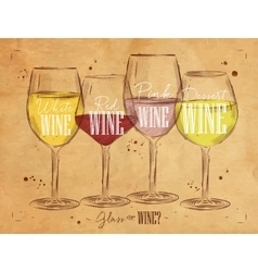 Poster types of wine kraft vector image