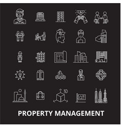 property management editable line icons set vector image