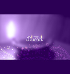 Purple happy diwali greeting with blurred diya vector