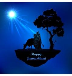 Radha and Krishna in Janmasthami night vector