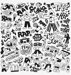Rap music doodle set vector