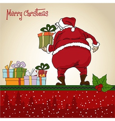 Santa Claus Christmas greeting card vector image