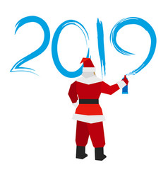 santa claus with sprayer writes 2019 vector image