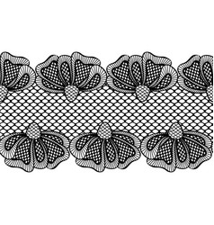 seamless black flower lace border lace ribbon vector image
