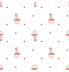 seamless pattern of mushrooms toadstools with vector image