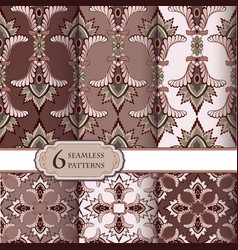 Seamless pattern set in vintage style abstract vector