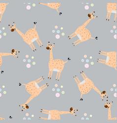 Seamless pattern with cute giraffe creative vector