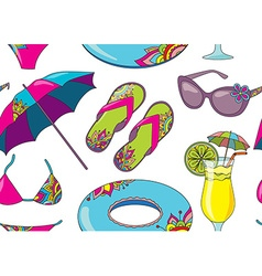 Seamless pattern with summer holidays seaside vector image