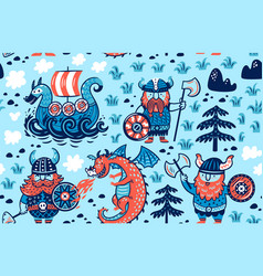 Seamless pattern with vikings ship and dragon in vector