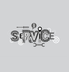 service creative word over abstract geometric vector image